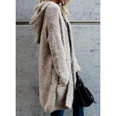 Solid Pocket Hooded Casual Long Cardigan