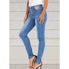 Patchwork Shirred Elegant Sexy Denim & Jeans