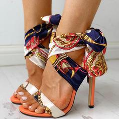 Kvinner Stoff Stiletto Hæl Sandaler Pumps Titte Tå med Blondér sko