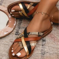 Bayanlar PU Düz topuk Sandalet Flats Parmak arası terlik Ile Hayvan baskı Oymak Ekleme Rengi ayakkabı