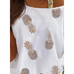 Распечатать Блестки Одно плечо С коротким рукавом Повседневная Блузы