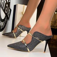 Pentru Femei Ţesătură Toc Stiletto Încălţăminte cu Toc Înalt Şlapi cu Paietă pantofi