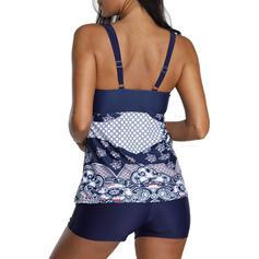Floral Print Strap U-Neck Elegant Tankinis Swimsuits