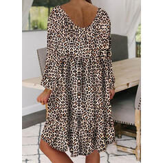 Leopard Long Sleeves Shift Knee Length Casual Dresses