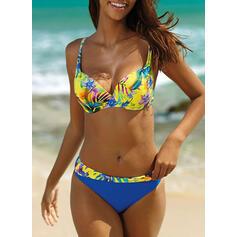 Цветочный Цвет соединения Ремень V шеи сексуальный Boho Bikinis купальников