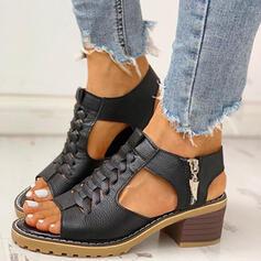 Mulheres PU Salto robusto Peep toe com Zíper sapatos