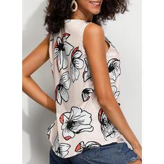 Floral Cuello en V Sin mangas Casual Sexy Camisetas sin mangas