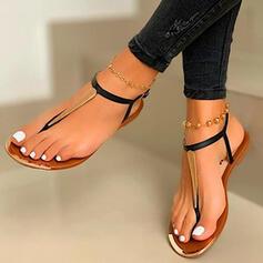 Dla kobiet PU Płaski Obcas Sandały Otwarty Nosek Buta Japonki Z Tkanina Wypalana Kolor splotu obuwie