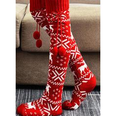 Print/Christmas Reindeer Warm/Women's/Christmas/Knee-High Socks Socks/Stockings