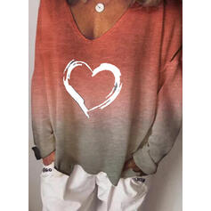 Print Gradient Heart V-Neck Long Sleeves Casual Knit T-shirts