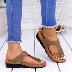 Women's PU Low Heel Sandals Flats Peep Toe Flip-Flops Slippers With Splice Color shoes