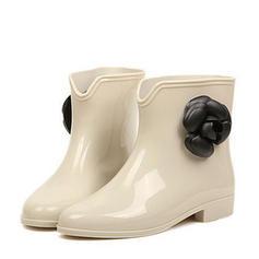 De mujer PVC Tacón bajo Botas Botas longitud media Botas de lluvia con Flor zapatos