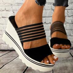 Mulheres PVC Plataforma Sandálias Chinelos com Oca-out Curativo Listrado sapatos