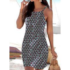 Print Sleeveless Bodycon Above Knee Casual/Vacation Dresses