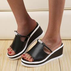 Women's PU Wedge Heel Sandals Wedges Peep Toe Slippers With Rhinestone shoes