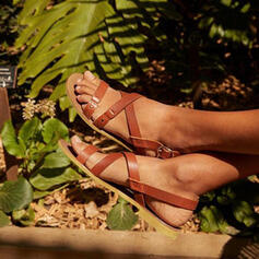 PU Tacón plano Sandalias Planos Encaje con Hebilla zapatos
