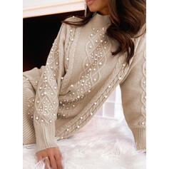 Solid/Beaded Long Sleeves Shift Above Knee Casual Sweater Dresses