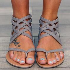 Dámské PU Placatý podpatek Sandály S otevřenou špičkou S Elastický Náramek obuv