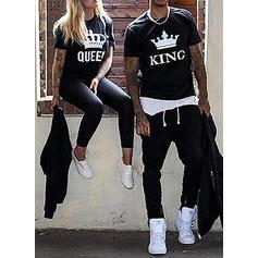 Kadın ve erkeğin Mektup Baskı uygun Çift T-shirt