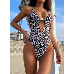"""Leopard Výstřih do """"V"""" Sexy Jednodílné Plavky"""