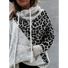 Color Block Pocket Leopard Hooded Casual Sweaters