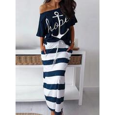 Print/Striped 3/4 Sleeves Sheath Casual Midi Dresses