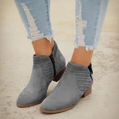 Női PU Alacsony sarok Chunky sarok Csizma Hegyes orr -Val Hálós ruha Szolid szín lélegző cipő