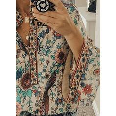 Nadruk Kwiatowy Dekolt w kształcie litery V Długie rękawy Zapięcie na guzik Casual Bluzki