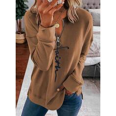 Print Figure V-Neck Long Sleeves Sweatshirt