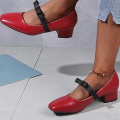 Pentru Femei PU Toc gros Încălţăminte cu Toc Înalt Deget rotund cu Nod Splice Color pantofi