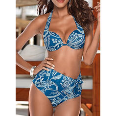 Leaves Print Push Up Halter Sexy Attractive Bikinis Swimsuits