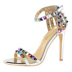 Women's PU Stiletto Heel Sandals Peep Toe With Rhinestone Buckle shoes