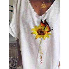 Zwierzęcy Nadruk słonecznika Dekolt w kształcie litery V Rękaw 1/2 Casual T-shirty