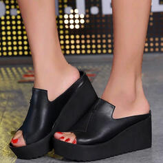 Dla kobiet PU Obcas Koturnowy Sandały Platforma Koturny Otwarty Nosek Buta Kapcie Z Tkanina Wypalana Bandaż obuwie