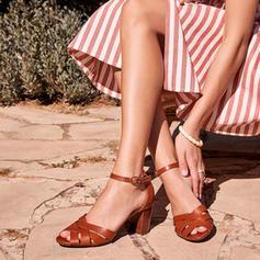 Kvinner PU Stor Hæl Sandaler med Spenne sko