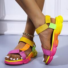 Bayanlar PU Düz topuk Sandalet Flats platform Peep Toe Ile Oymak Velcro ayakkabı