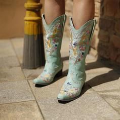 Női Szarvasbőr Chunky sarok Mid-Calf Csizma Hegyes orr -Val Hímzés Csipke cipő