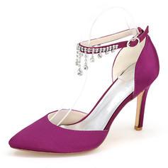 De mujer satén sedoso Tacón stilettos Sandalias Salón Cerrados con Rhinestone Cadena zapatos