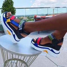 Dámské Kůže z mikrovlákna Klínový podpatek Sandály Platforma Boty na klínu S otevřenou špičkou Podpatky S Vydlabaný Splice Color obuv