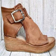 Bayanlar suni deri Sivri topuk Sandalet platform Takozlar topuk Ile Toka Oymak ayakkabı