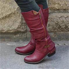 Női PU Chunky sarok Lovaglócsizma Kerek lábujj -Val Cipzár Splice szín cipő