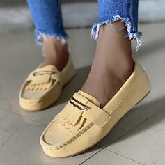 Женский Микроволокно Плоский каблук с Складки Сплошной цвет обувь