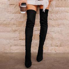 Frauen Veloursleder Stöckel Absatz Stiefel über Knie Spitze mit Zuschnüren Einfarbig Schuhe