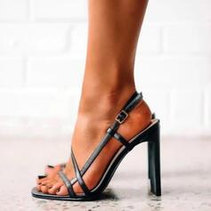 Женский PU Стилет каблук Насосы Peep Toe Каблуки с пряжка Выдолбить обувь