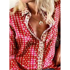 Imprimeu Rever Mâneci Lungi Cu nasturi Comodă Cămaşă Tip Bluză