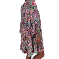 Nadrukowana Długie rękawy/Rozkloszowane rękawy Koktajlowa Długośc do kolan Casual Tunika Sukienki