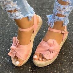 ткань Плоский каблук Сандалии Платформа клинья Peep Toe с Bowknot пряжка Выдолбить обувь