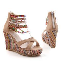 Dla kobiet PU Obcas Koturnowy Sandały Platforma Koturny Otwarty Nosek Buta Z Zamek błyskawiczny obuwie