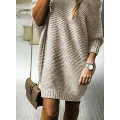 Solid Striat Guler Rotund Comod Lungi Rochie pulover