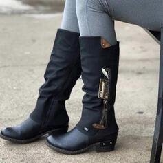 Pentru Femei PU Toc gros Cizme până la jumătatea gambei Ghete Martin Deget rotund cu Cataramă Fermoar Splice Color pantofi